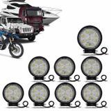 Kit 8 Faróis de Milha Redondo Universal 9 LEDs 6000K 27W Branco Carro Moto Caminhão Jeep - Kit prime