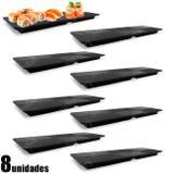 Kit 8 Pratos Retangular 33x11 Cm em Melamina / Plastico para Sushi  Utilgoods