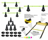 Kit 9 - 10 Cones Furados C/ Barreira + 10 Pratos + Escada Agilidade - Ana bely