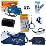 Kit Acadêmico de enfermagem com Medidor de Pressão Aneróide e Estetoscópio Rappaport Premium Azul