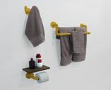 Kit Acessórios para Banheiro Conjunto 3 peças Porta Toalhas Papel Cabideiro - Amarelo Laca - Formalivre