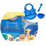 kit alimentação infantil em silicone colher + babador + tigela Hipopótamo - Marcus  Marcus