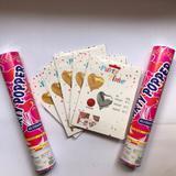 Kit amor 5 balões coração + 2 lança confete - Vmp