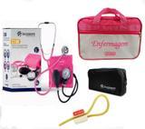 Kit Aparelho de Pressão com Estetoscópio Clinico Duplo Pink  Incoterm + Bolsa JRMED + Garrote JRMED