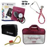 Kit Aparelho De Pressão com Estetoscópio Rappaport Incoterm Vinho + Bolsa JRMED