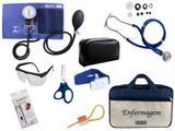 Kit Aparelho De Pressão com Estetoscópio Rappaport Premium Completo - Azul