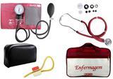 Kit Aparelho de Pressão com Estetoscópio Rappaport Premium Vinho + Bolsa JRMED + Garrote Exclusivo JRMED