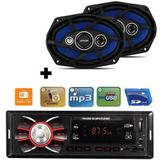 Kit Auto Falante 6x9 110w + Toca Radio Carro Mp3 Player Usb - Orion