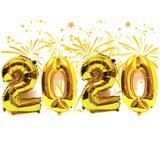 Kit Balão Ano Novo 2020 Metalizado Dourado 45cm 32 Polegadas - Kriat