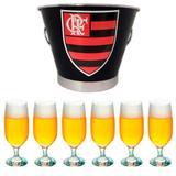 Kit balde de gelo flamengo 6l + 6 tacas floripa 300ml - Predileta