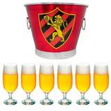 Kit balde de gelo time sport club 6l + 6 taças floripa 300ml - Predileta