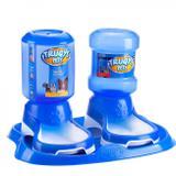 Kit Bandeja com Bebedouro + Comedouro Automatico para Pet 2 L Azul  Truqys