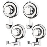 Kit Banheiro 2 Ganchos Duplos e 2 Ganchos Simples Fixação Por Ventosa ABS Cromado - Future