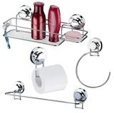 Kit Banheiro Especial 4 Peças Fixação Com Ventosa Aço Cromado - Future