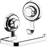 Kit Banheiro Papeleira e Gancho Simples Fixação Por Ventosa ABS Cromado - Future