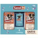Kit Banho Para Cães: Shampoo + Condicionador + Perfume - Sanol