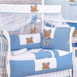 Kit Berço Americano para Meninos 09 Peças Urso Dorminhoco Azul - I9 baby