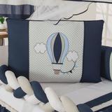 Kit Berço Balão e nuvem Azul Trança com Almofada 10 Peças - Anjos enxovais