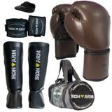 Kit Boxe Luva Bandagem Bucal Caneleira M Bolsa - Iron Arm