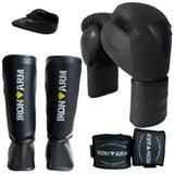 Kit Boxe Luva Bandagem Protetor Bucal Caneleira G - Iron Arm