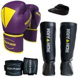 Kit Boxe Luva Bandagem Protetor Bucal Caneleira M - Iron Arm