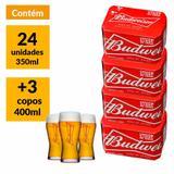 Kit Budweiser Pack 350ml (24 Unidades) + 3 Copos Bud 400ml