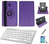 "Kit Capa/Can/Pel/Teclado Branco Galaxy Tab S4 - T835 10,5"" 360 Roxo - Bd cases"