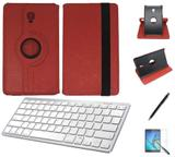 """Kit Capa/Can/Pel/Teclado Branco Galaxy Tab S4 - T835 10,5"""" 360 Vermelho - Bd cases"""