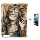 Kit Capa Case TPU iPad 2/3/4 Janis Joplin + Película de Vidro (BD01) - Skin t18