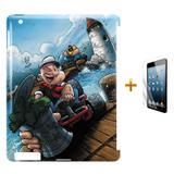 Kit Capa Case TPU iPad 2/3/4 Popeye + Película de Vidro (BD01) - Skin t18