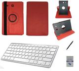 """Kit Capa/Teclado Branco/Can/Pel Galaxy Tab E T560/T561 9.6"""" Vermelho - Bd cases"""