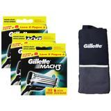 Kit Carga Gillette Mach3 com 24 unidades + Porta Chuteira