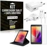 Kit Carregador Tipo C Galaxy Tab A 8.0' T380/T385 + Capa Giratória + Película de Vidro - Armyshield