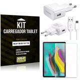 Kit Carregador Tipo C Samsung Galaxy Tab S5e 10.5' T725 + Película de Vidro - Armyshield