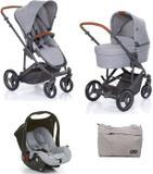 Kit Carrinho Moisés COMO 4 com Bebê Conforto + Bolsa Woven Gray (Det. Couro) - ABC Design