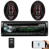 "Kit CD Player Pioneer DEH-X500BR 1 Din Bluetooth Android iOS + Alto Falante Bicho Papão 6x9"" 350W - Prime"