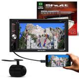 "Kit Central Multimídia Shutt Dakota 6.2"" Touch Bluetooth Espelhamento USB MP3 + Cam Ré 2 em 1 Preta - Kit shutt"