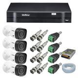 Kit CFTV 4 Câmeras segurança 720P Intelbras VHD 1010B G4 + Dvr Intelbras MHDX 1104 + Acessórios