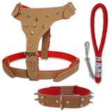 Kit Coleira para cachorro peitoral e guia com amortecedor - Couro dog
