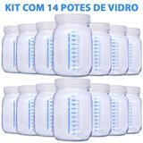 Kit com 14 Potes de Vidro para Armazenar Leite Materno 200ml Com Graduação - Super mamãe