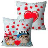 Kit com 2 Almofadas Decorativas Infantil Vermelho Corujinhas Love - Pump up
