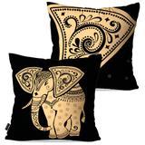 Kit com 2 Almofadas Decorativas Preto Elefante - Pump up