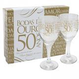 Kit com 2 Taças de Vinho + Caixa - Bodas de Ouro - Simas presentes