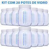 Kit com 20 Potes de Vidro para Armazenar Leite Materno 200ml Com Graduação - Super mamãe