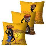 Kit com 3 Almofadas Decorativas Amarelo Mulheres Africanas - Pump up