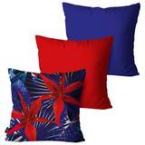 Kit com 3 Almofadas Decorativas Azul Floral - Pump up