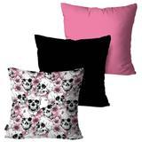 Kit com 3 Almofadas Decorativas Rosa Multi Caveiras - Pump up