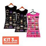 KIT com 3 Porta Joias Organizador De Bijuterias Vestido Para Cabide - Mc