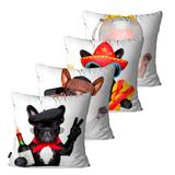 Kit com 4 Almofadas Decorativas Branco Dog Turista - Pump up