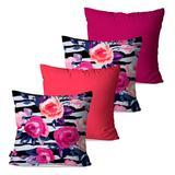 Kit com 4 Almofadas Decorativas Coral Floral - Pump up